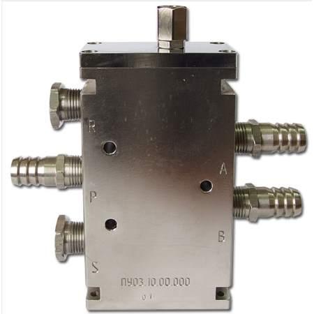 Пневмораспределитель пятилинейный двухпозиционный с пневматическим управлением и возвратной пружиной КРПУ