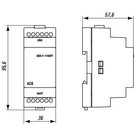 АС6-Д преобразователь интерфейсов HART-USB. Габаритные размеры